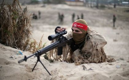 A militant in the Popular Front for the Liberation of Palestine takes part in a military exercise in the southern Gaza Strip, December 22.