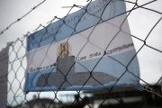 An Argentinian flag with messages in support of the 44 crew members of the missing ARA San Juan submarine at the Mar del Plata naval base.