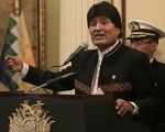 Evo Morales during his speech Wednesday.