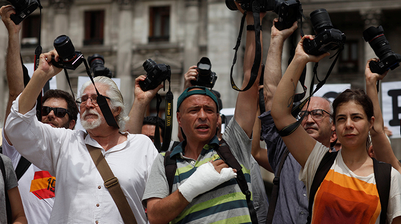 At least 30 journalists were injured during protests against pension reforms.