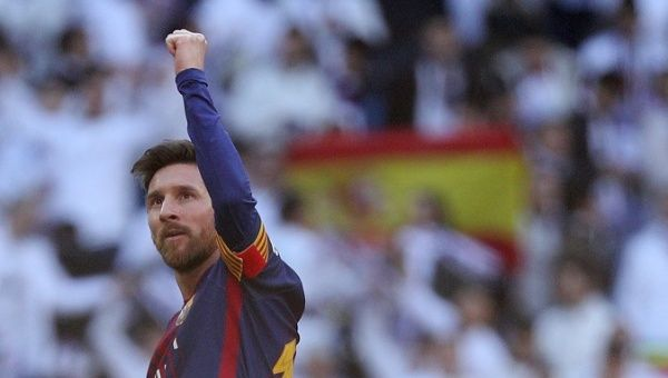 FC Barcelona's Lionel Messi celebrates at the end of a match.