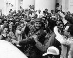 Fidel Castro is acclaimed by the people after the triumph of the Cuban Revolution.