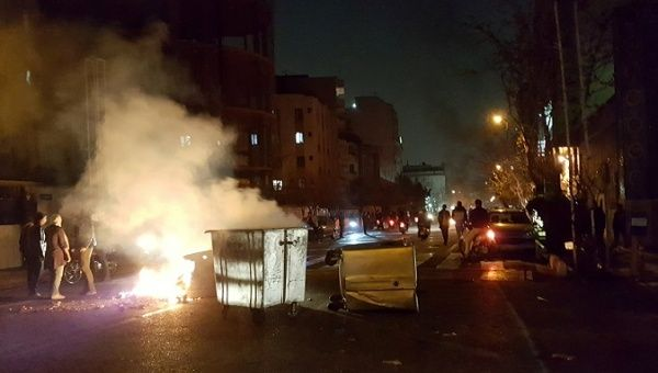 A protest blockade in Tehran, Iran December 30, 2017 in this picture obtained from social media.