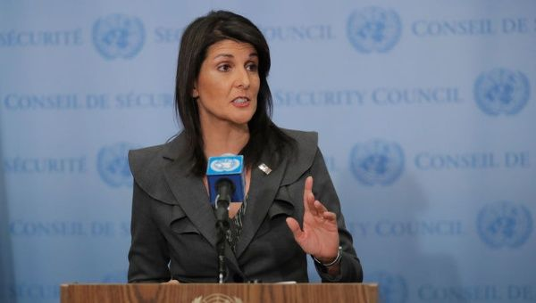 U.S. Ambassador to the United Nations Nikki Haley speaks at UN headquarters in New York, U.S., Jan. 2, 2018.