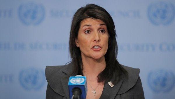 U.S. Ambassador to the U.N. Nikki Haley speaks at U.N. headquarters.