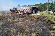 A picture posted by the local Emergency Medical Service showing a burned carriage from the train.