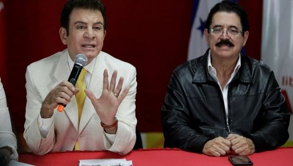 Opposition candidate Salvador Nasralla speaks during a news conference accompanied by former president of Honduras Manuel Zelaya in Tegucigalpa, Honduras January 2, 2018.