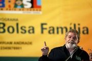 Former Brazilian President Luiz Inacio Lula da Silva speaks during a Family Allowance (Bolsa Familia) event.