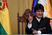 President Evo Morales speaks during a news conference at the presidential palace in La Paz, Bolivia.