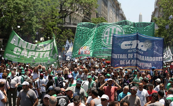 Union members march towards the Ministry of Modernization in Buenos Aires, Argentina January 4, 2018.