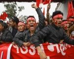 Supporters of the Unified Communist Party of Nepal (UCPN-Maoist) during a rally marking the 17th anniversary of the