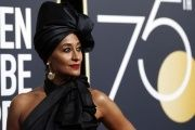 Tracee Ellis Ross, clad in black, supports the 'Time's Up' movement at the 75th Golden Globes.