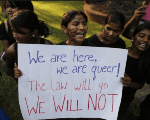 LGBT rights activists shout slogans during a protest in Mumbai December 15, 2013.