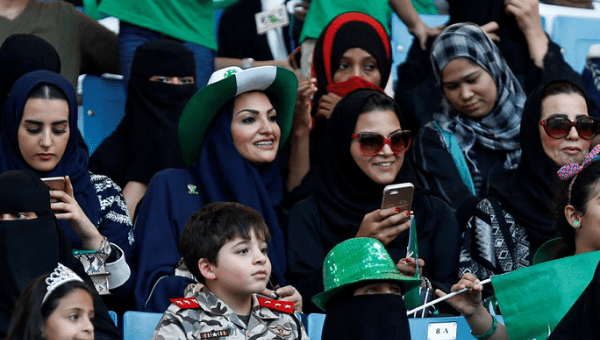 Saudi Arabia women attended a rally to celebrate the 87th annual National Day of Saudi Arabia in September. It has been announced that women will be allowed to attend sports events in stadiums in the future.