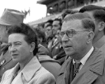French philosophers, Simone de Beauvoir and Jean-Paul Sartre are seen together.