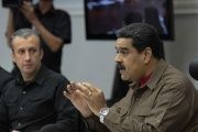 Venezuela's President Nicolas Maduro (R) speaks during a meeting with ministers in Caracas, Venezuela January 5, 2017