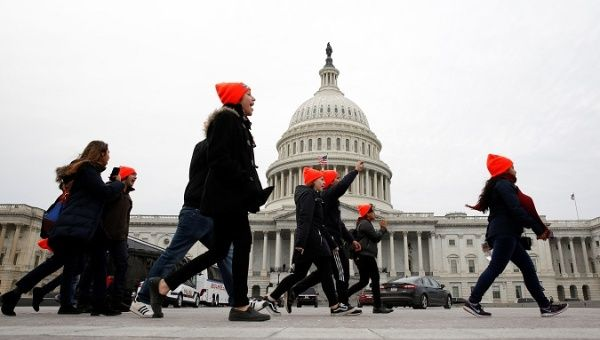 Protesters who call for an immigration bill addressing the status of Dreamers, rally on Capitol Hill in Washington.