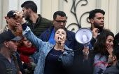 A demonstrators shout slogans during protests against rising prices and tax increases, in Tunis, Tunisia January 9, 2018