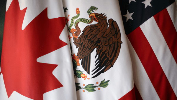 Flags are pictured during the fifth round of NAFTA talks.