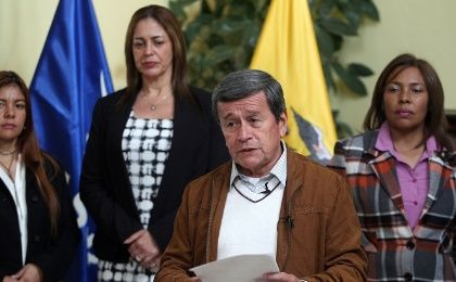 Pablo Beltran, representative of the delegation of the National Liberation Army (ELN), addresses the media in Quito, Ecuador January 10, 2018