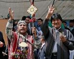 Bolivia's President Evo Morales (R) and a witchdoctor participate in a ceremony that mark 'Coca Day' in La Paz, Bolivia.