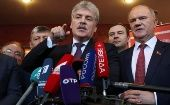 Pavel Grudinin, head of the Lenin State Farm and Communist Party presidential nominee talks to the media as he stands next to Russia