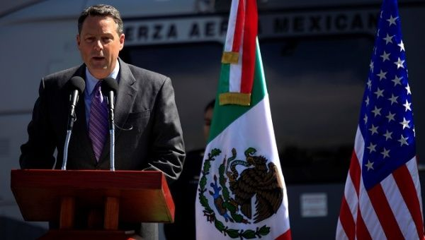 U.S. Deputy Chief of Mission John Feeley in Mexico speaks during a ceremony at a hangar of the Secretariat of National Defense in Mexico City, Mexico November 8, 2010.
