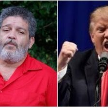Marco Leon Calarca (L) and Donald Trump (R).