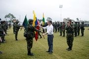 Colombia's President Juan Manuel Santos during the inauguration of a new military unit with over 9,000 members who will battle ELN rebels  in Tumaco.