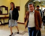 ELN's lead negotiator leaves press conference held in Quito, Ecuador on Wednesday.