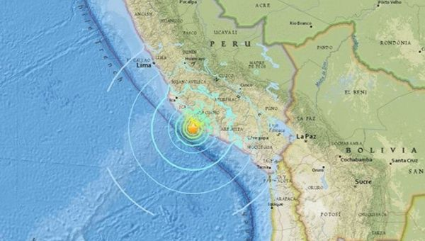 The Pacific Tsunami Warning Centre said tsunami waves are possible within 300 kilometers of the epicenter along the coast of Peru.