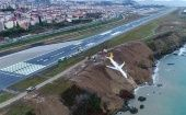 The Boeing 737-800 of the Turkish airline Pegasus and coming from Ankara skidded on landing in Trebizond.
