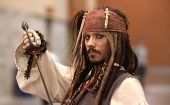 A cosplayer dressed as Captain Jack Sparrow, from Pirates of the Caribbean.