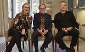Actors Meryl Streep and Tom Hanks and director Steven Spielberg are seen appearing in an undated pre-recorded interview for the BBC
