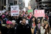People take part in the second annual Women's March in Manhattan in New York City, January 20.