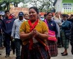Guatemalan Indigenous activist Maria Choc and supporters before her court hearing on January 20.