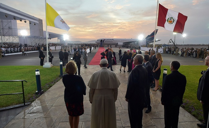Pope Francis attends a farewell ceremony at Lima's airport before departing Lima, Peru, January 21, 2018