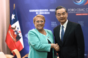 Chile's president Michelle Bachelet and China's Foreign Minister Wang Yi meet at China and the Community of Latin American and Caribbean States (CELAC) Forum, in Santiago, Chile January 22, 2018.