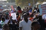 Protesters march against reported comments made by U.S. President Donald Trump about Haiti, in the streets of Port-au-Prince.