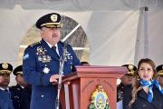 In this Jan. 15, 2018 photo, Honduras' new national Police Chief Jose David Aguilar Moran speaks at a ceremony that transferred command of the police force to him in Tegucigalpa, Honduras.