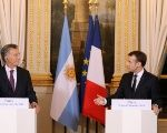Argentina's President Mauricio Macri (L) and France's President Emmanuel Macron (R) during a press conference at the Elysee Palace in Paris.