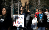 """Dreamers"" campaign for a clean Dream Act outside Disneyland in California, in the United States, on January 22."