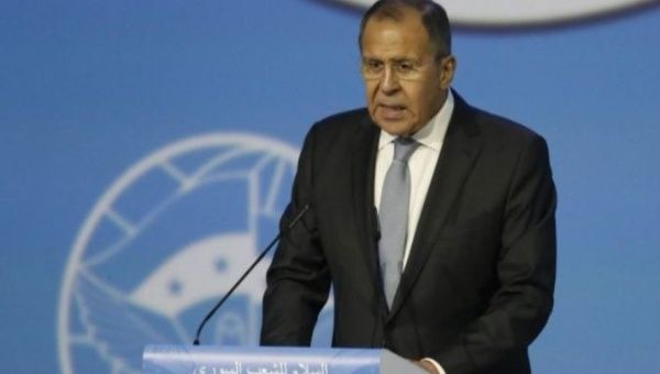 Russian Foreign Minister Sergei Lavrov speaks during the second day of the Sochi peace talks on Syria.