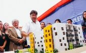 Recoleta Mayor, Daniel Jadue, at the inauguration of the Popular Real Estate building on Social Justice St.