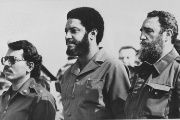 Left to right: Nicaraguan leader Daniel Ortega, Maurice Bishop, and Fidel Castro at a May 1 celebration in Havana in 1980.