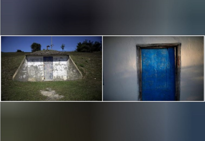 The entrance of a bunker on the U.S. Naval Base in Guantanamo Bay (L). A few miles away, a similar door, fresh and bright with a new coat of paint, guards the home of a Cuban family.
