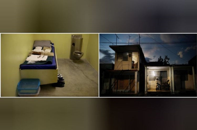 On the left, a standard cell in the Join Task Force Guantanamo Camp VI. Across the city, local residents sit in a small compartment outside their home busy with a game of dominos.