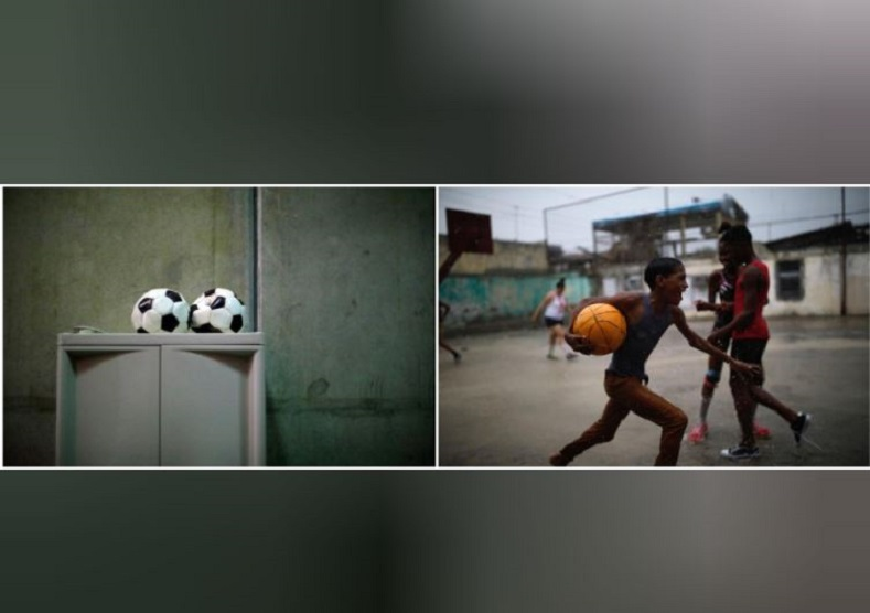 To the left, two soccer balls sit dejected inside a cell block at the U.S. Naval Base. A group of young Cuban boys improvise, using a basketball to play a soccer game in Guantanamo city.