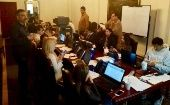 The Foreign Ministry team in Quito preps for the polls.