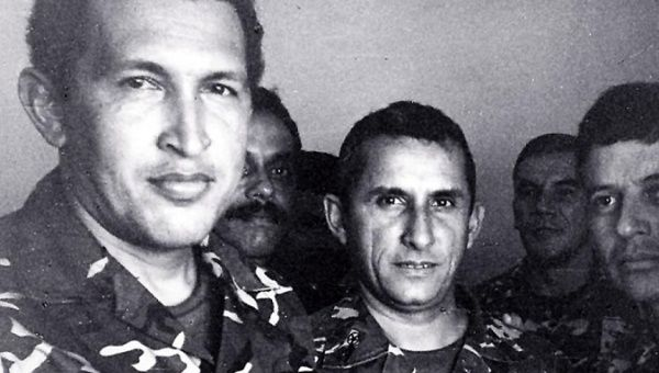 Hugo Chavez and fellow rebel soldiers during the 1992 uprising.